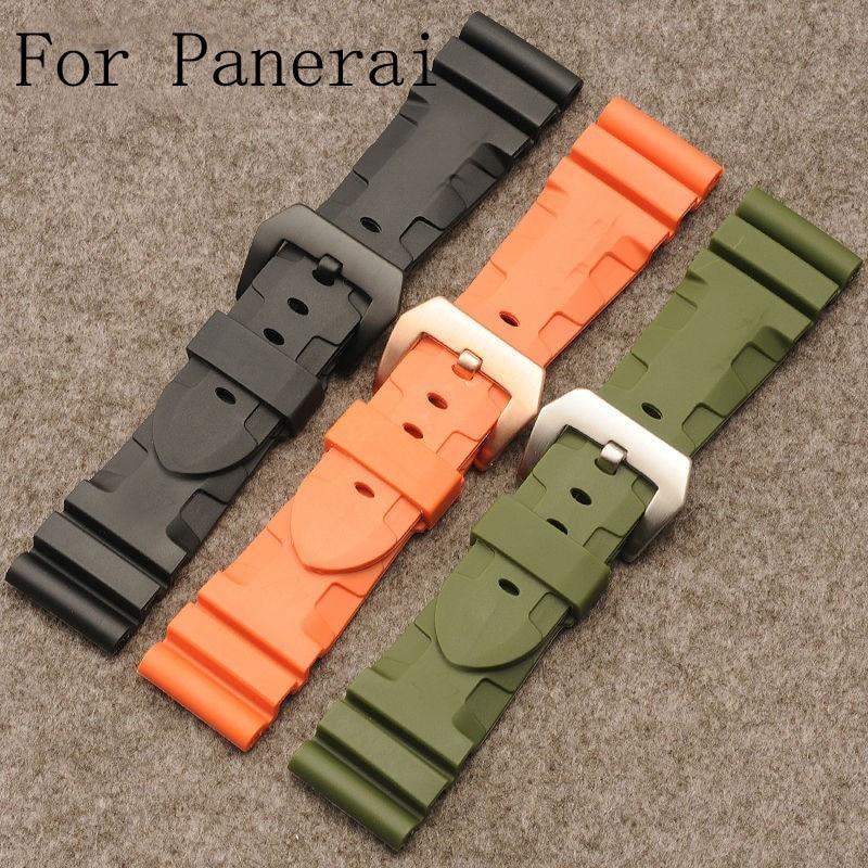 New 24 mm 26 mm noir Orange vert caoutchouc Silicone étanche bracelet ceinture bracelet pour PAM111 avec Logo Original