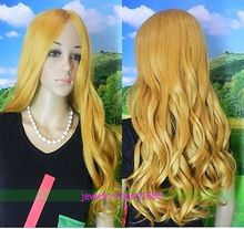 Wholesale heat resistant LY free shipping NEW WIG LONG LIGHT GLONDE BLONDE CURLY WOMEN WIG
