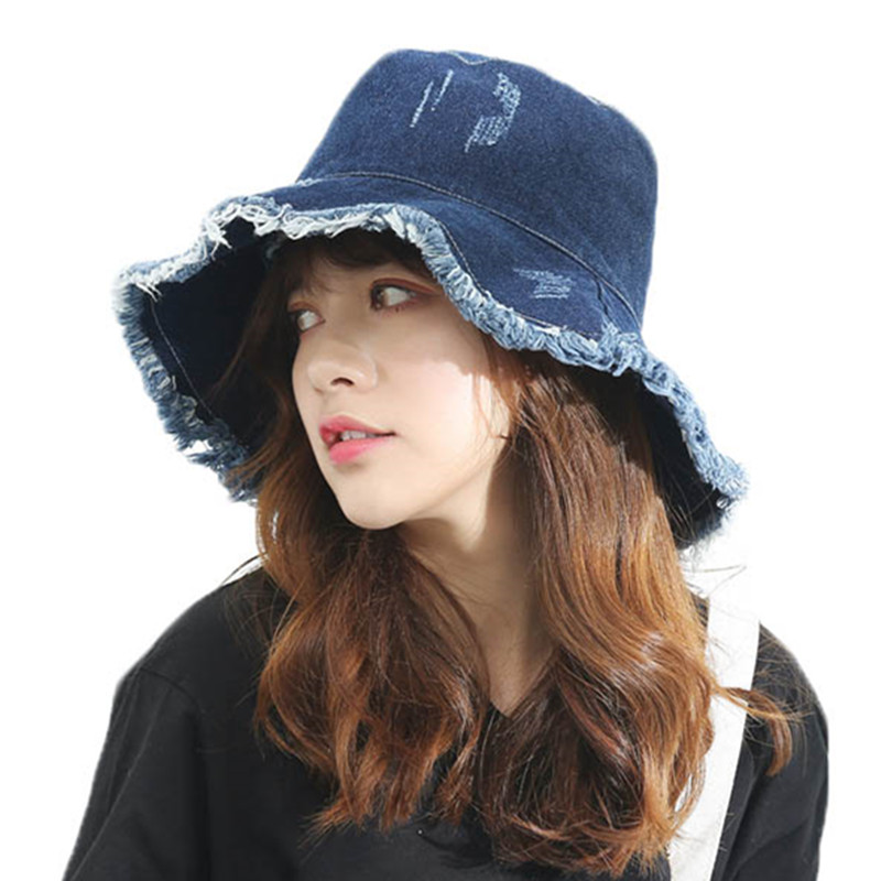 5ec14d37b5d UV Protection Bucket Hat For Women Personality Denim Adult Fisherman Hats  Female Spring Travel Foldable Basin