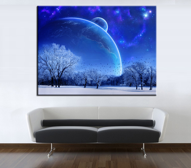 Wooden No Framed House Room Dining Hall Kitchen Office Art The Beautiful Starry Sky Oil Paintings