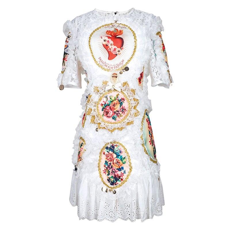 Verdejuliay 활주로 레이스 드레스 디자이너 2019 여름 패션 짧은 소매 레이스 인쇄 로즈 & 천사 인쇄 궁전 흰 드레스-에서드레스부터 여성 의류 의  그룹 1
