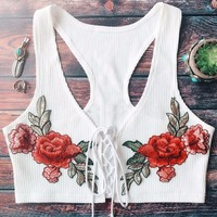 iShine 2017 summer women sexy lace up deep v neck short knit tees backless rose embroidery crop tops casual ladies floral tanks