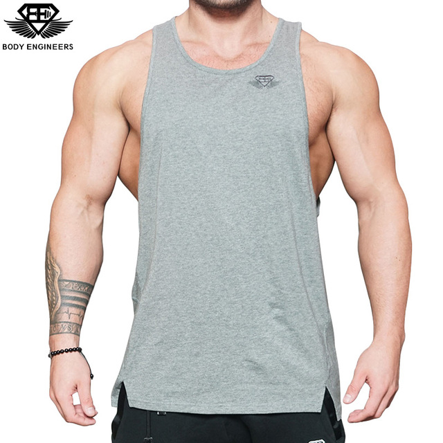 Body engineers 2017 men's stretch sleeveless T-shirt fitness leisure fitness ventilation embroidery tight vest tops tank