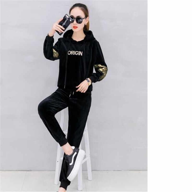 Spring autumn Hooded Women's suit Korea Gold velvet Sportingsuit set New fashion 2 Piece set women Student Tracksuit forwomen