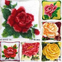 Rose flores Cojines Ganchos de cierre kit Almohadas Esterillas DIY Craft flor Cruz puntada costura crocheting Cojines Bordado