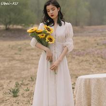 Ubei French court vintage dress fashion bubble sleeves fairy white women v-neck long