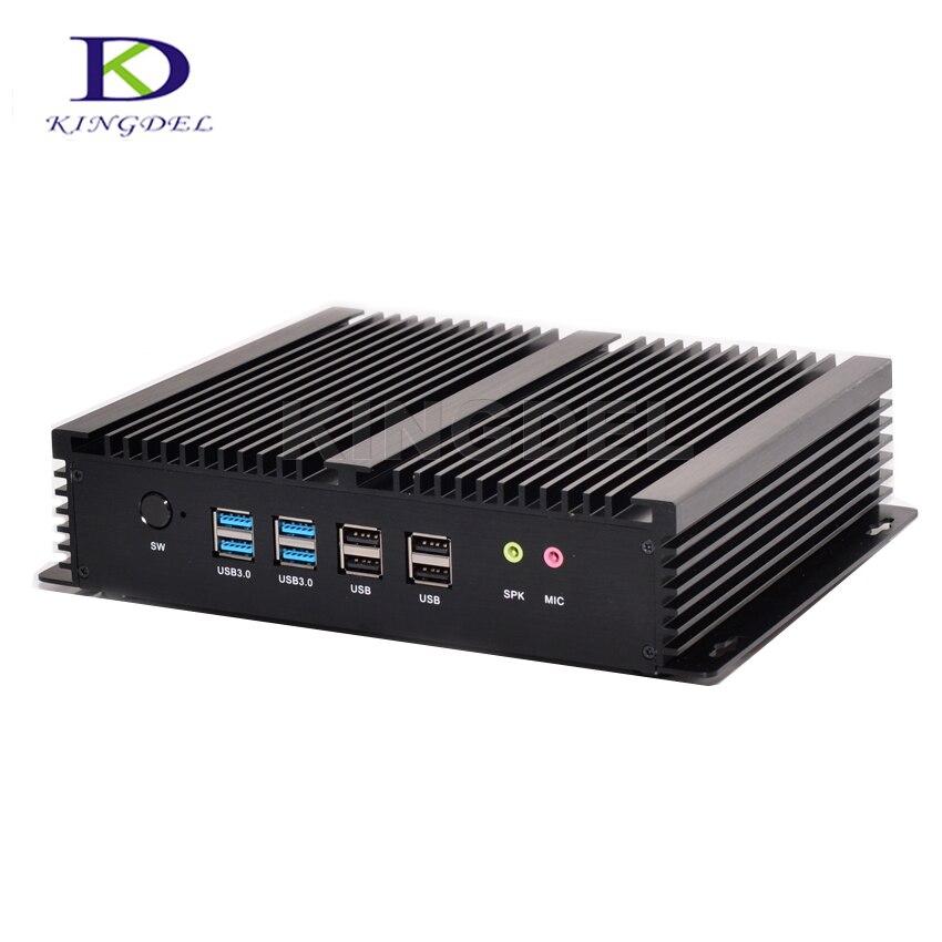 Kingdel Industrial Mini PC Windows 10 Core I7 2*Intel Gigabit 6*RS232 Slim Computer 300M Wifi 2*HDMI,HTPC NC310