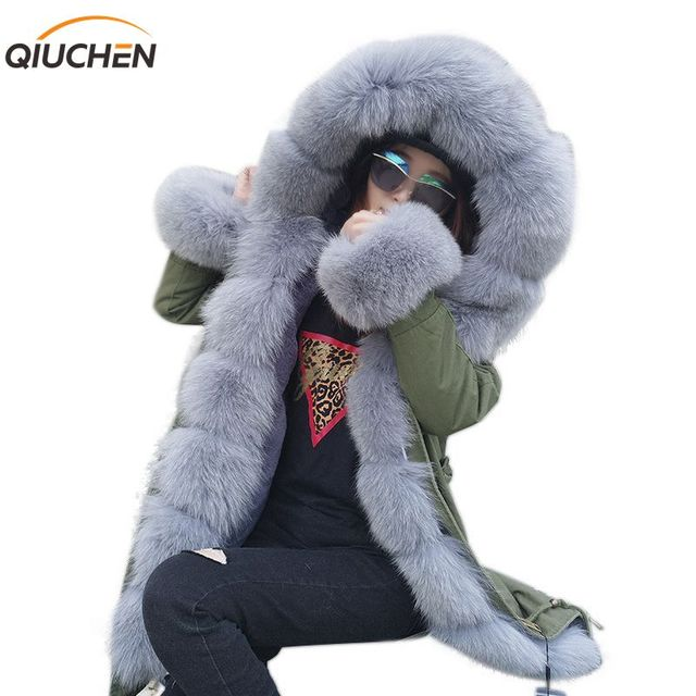 QIUCHEN PJ6007 real fur parka with real fox fur Hood and placket long model women army green coat with rex rabbit fur lining