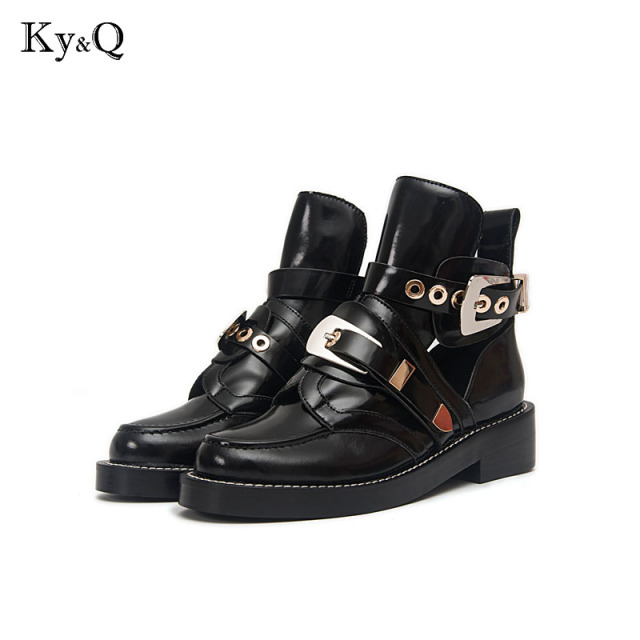 Gold Silver Buckle Ankle Boots for Women Fashion Cut out Gladiator Low Heel  Shoes Motorcycle Boots e15c49efc81f