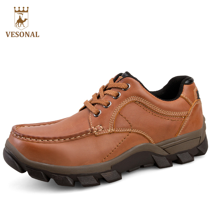 VESONAL Genuine Leather Casual Shoes Adult For Men Hot Sale 2017 New Autumn Winter Brand High Top Quality Footwear Man Walking hot sale 2016 top quality brand shoes for men fashion casual shoes teenagers flat walking shoes high top canvas shoes zatapos