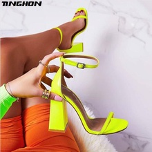 TINGHON PU Summer Rome Sexy Sandals Fashion Solid Shallow Round Toe Square High Heel Buckle Green Black Cover Heel Size 35-40 цены онлайн