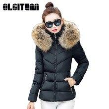 OLGITUM Поддельные меховой воротник вниз хлопка куртка 2017 Женщины Сгущает теплые Зимние Куртки Снег Износ Пальто Женщин Куртки Парки Плюс размер