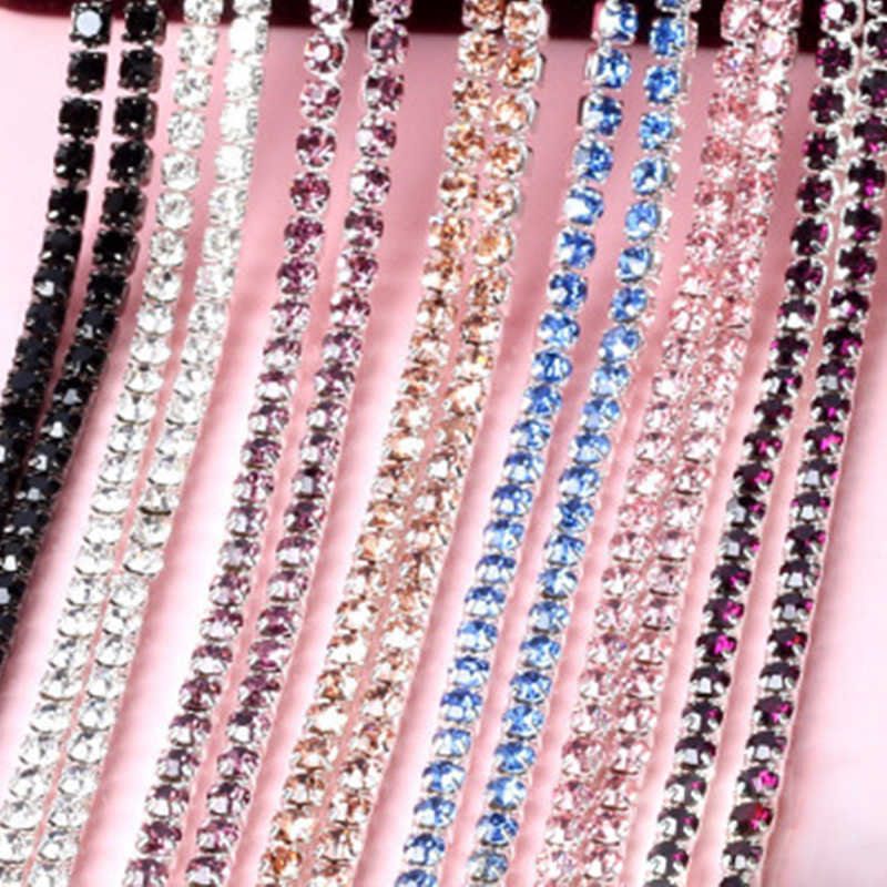 1 метр пришить цепочка с прозрачными стразами SS6 SS8 SS10 SS12 цепочки с кристаллами с серебрянной акантовкой, плотный коготь Стекло лента из страз DIY Красота аксессуары