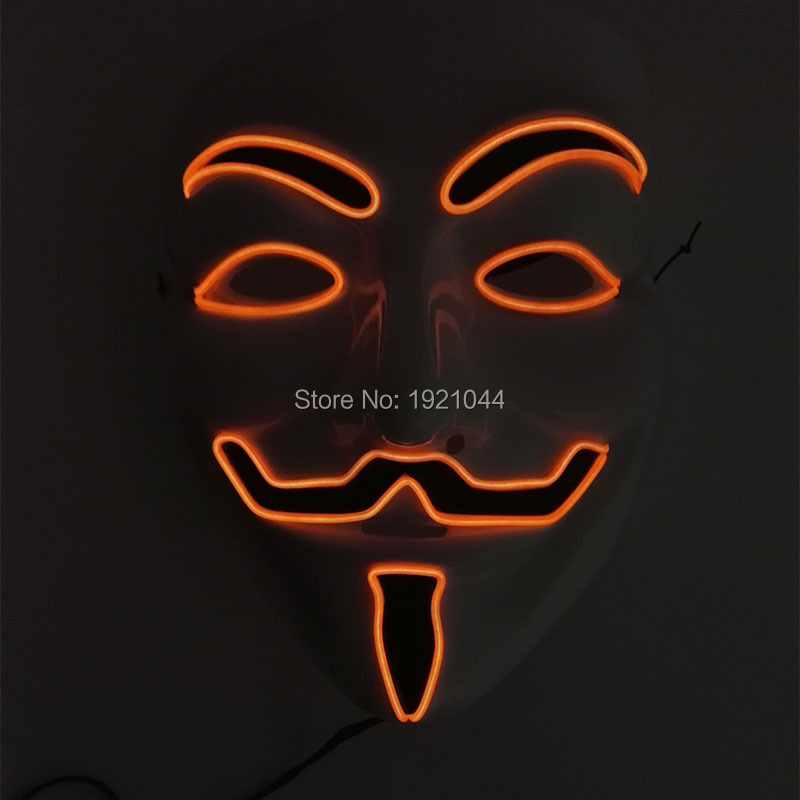 Wholesale Product 5Pieces EL Wire Vendetta Mask Halloween Party Mask with Lamp DC 3V Steady on Inverter For Carnival Decoration