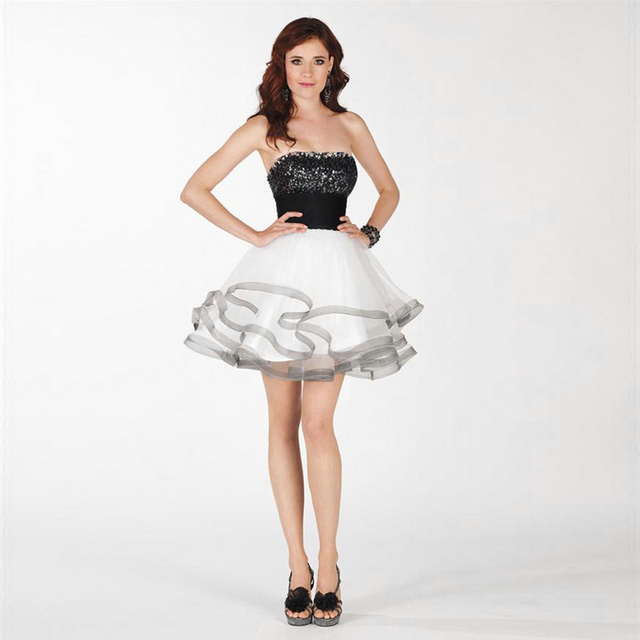 Black and White Sequined Short Strapless Cocktail Dresses Vestidos ...