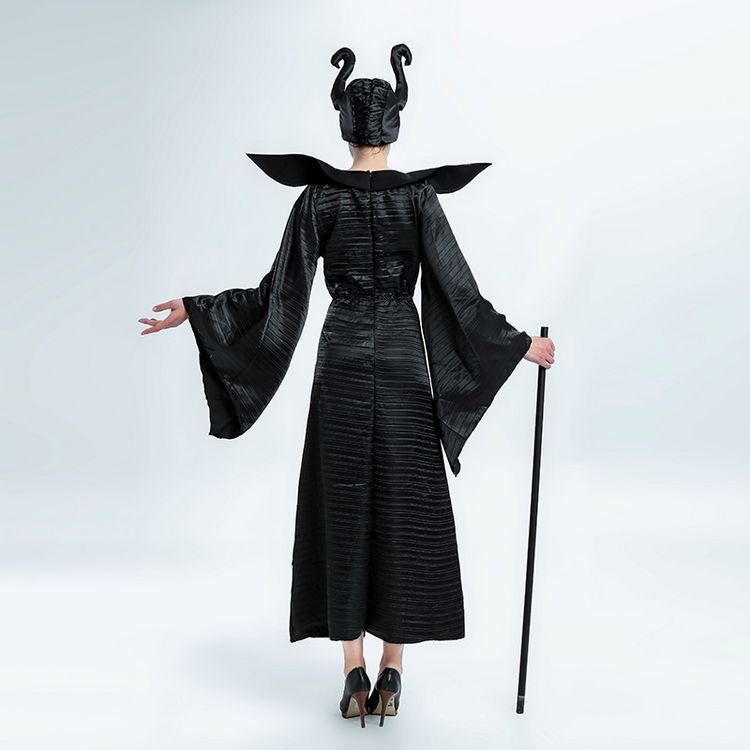 Ведьма Платье черного цвета для взрослых женские Косплэй Хэллоуина модные благородные женщины одеваются scarey Косплэй Fantasia Infantil платье