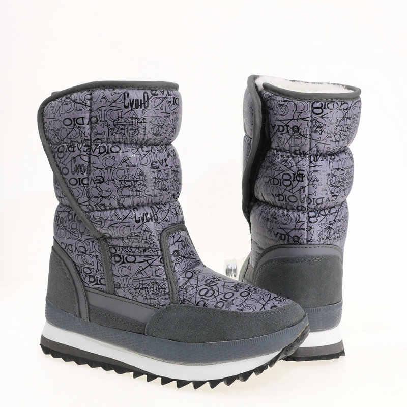 Neue frauen stiefel weibliche schnee schuhe witner warme boot Grau farbe drucken Russland größe mid-culf höhe weiche gefälschte hot fur freies verschiffen