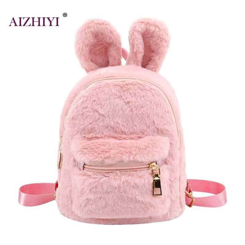 Faux Fur Mini Rabbit Ears Kids Backpacks Girls Children School Kindergarten  Shoulder Bag Mini Famous Design 7b19ed49a381c