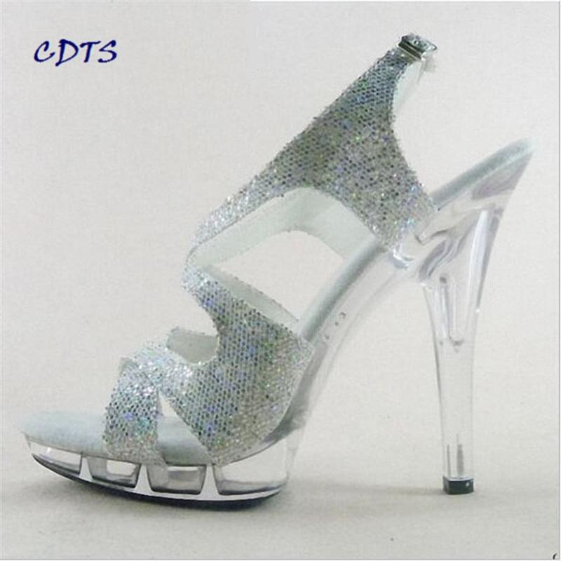 LLXF nightclub shoes woman 2016 summer Crystal platform 13cm thin heels Glitter Sandals Free shipping Plus:35-45 46 pumps
