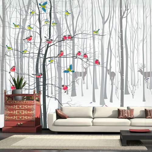 3d photo wall wallpaper murals for living room modern bird for Black and white tree wallpaper mural