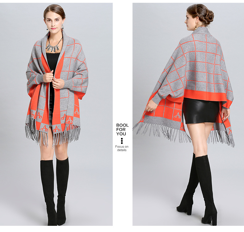 SC248 2018 Oversize Plaid Cloak Winter Knitted Thick Tassel Poncho Women Red With Black Female Long Sleeves Wrap Warm Shawl in Women 39 s Scarves from Apparel Accessories