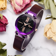 Women Watches Luxury Brand Rose Gold Magnet Starry Sky Rhinestone Watch Clock Womens Fashion Quartz Ladies Reloj