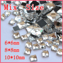 New sale Mixe size 130pcs Crystal clear 6mm 8mm 10mm Hot fix rhinestones for garment  free shipping