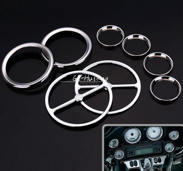 Хром спидометр датчики обрамление Рог Крышка для Harley FLHX Трайк ЭФИ FLTRI