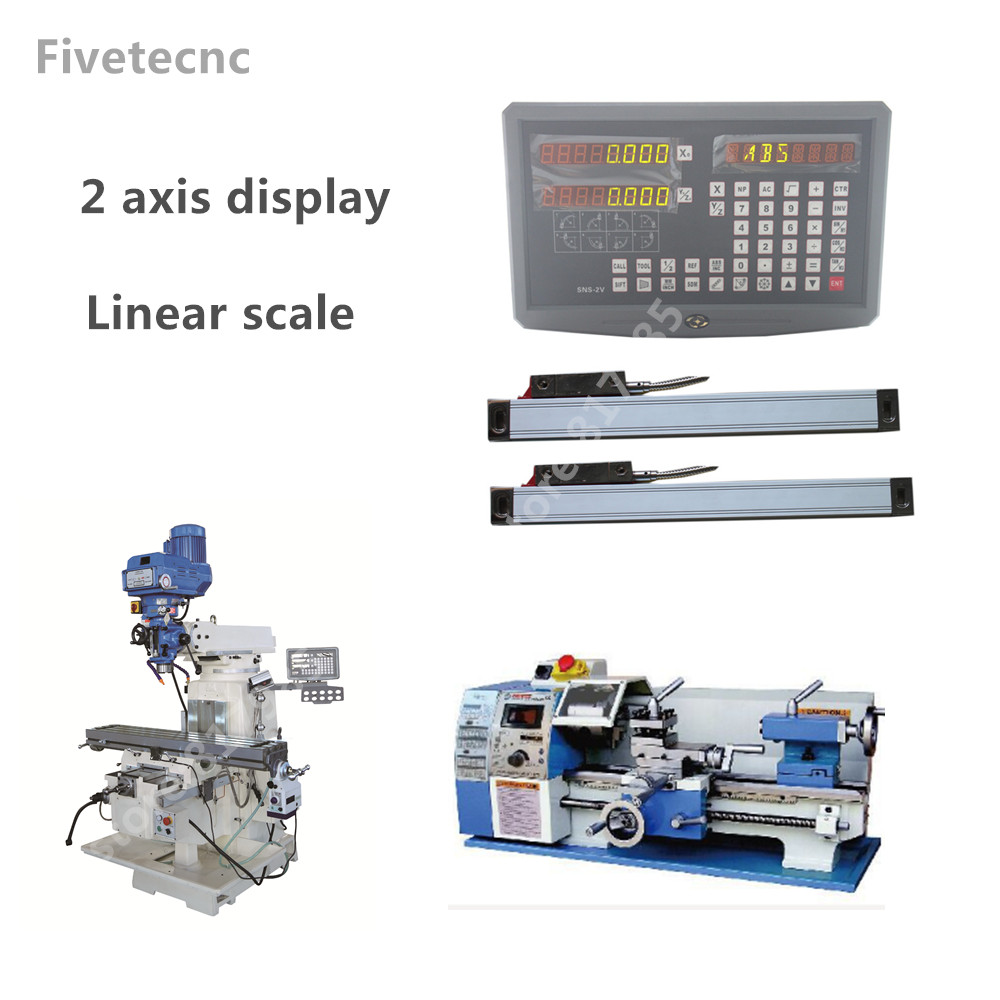 цена на 2 Axis digital readout DRO display with 100-1020mm linear scale linear encoder linear ruler for milling lathe machine