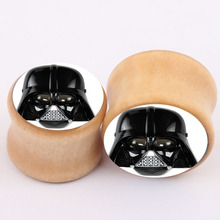 Dead of vampire logo Wood Ear Plugs Tunnels and Saddles Flesh Ear Gauges Expanders and Stretchers
