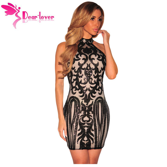 af3475b7d0caa Dear Lover Sequin dresses Bodycon Curto Womens Shine 2017 Sexy Pink Vintage  Print Sleeveless Club Dress