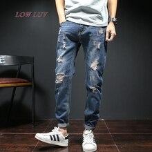 Мужская новые джинсы мужские брюки узкие джинсы сплошной цвет
