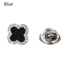 Nine Flower Brand Austria Crystal Full Rhinestone Clover Brooches For Women Scarf Buck Fashion Luxury Jewelry brooch pin