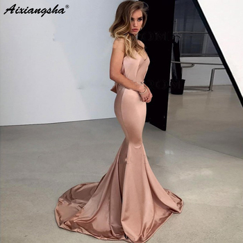 New Spaghetti Straps Long Mermaid Prom Dress 2019 Sleeveless Sweep Train Elastic Satin Backless Champagne Evening Dress