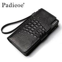 Padieoe luxury Men Wallets Genuine Leather Long Purse Business Clutch Wallet