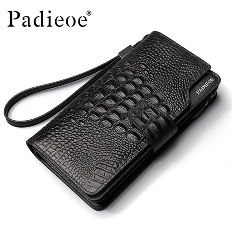 купить Padieoe luxury Men Wallets Genuine Leather Long Purse Business Clutch Wallet по цене 4066.25 рублей