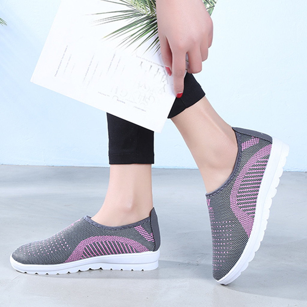 HTB1CaKLaiYrK1Rjy0Fdq6ACvVXaw MUQGEW Women's Mesh Flat shoes patchwork slip on Cotton Casual shoes for woman Walking Stripe Sneakers Loafers Soft Shoes zapato