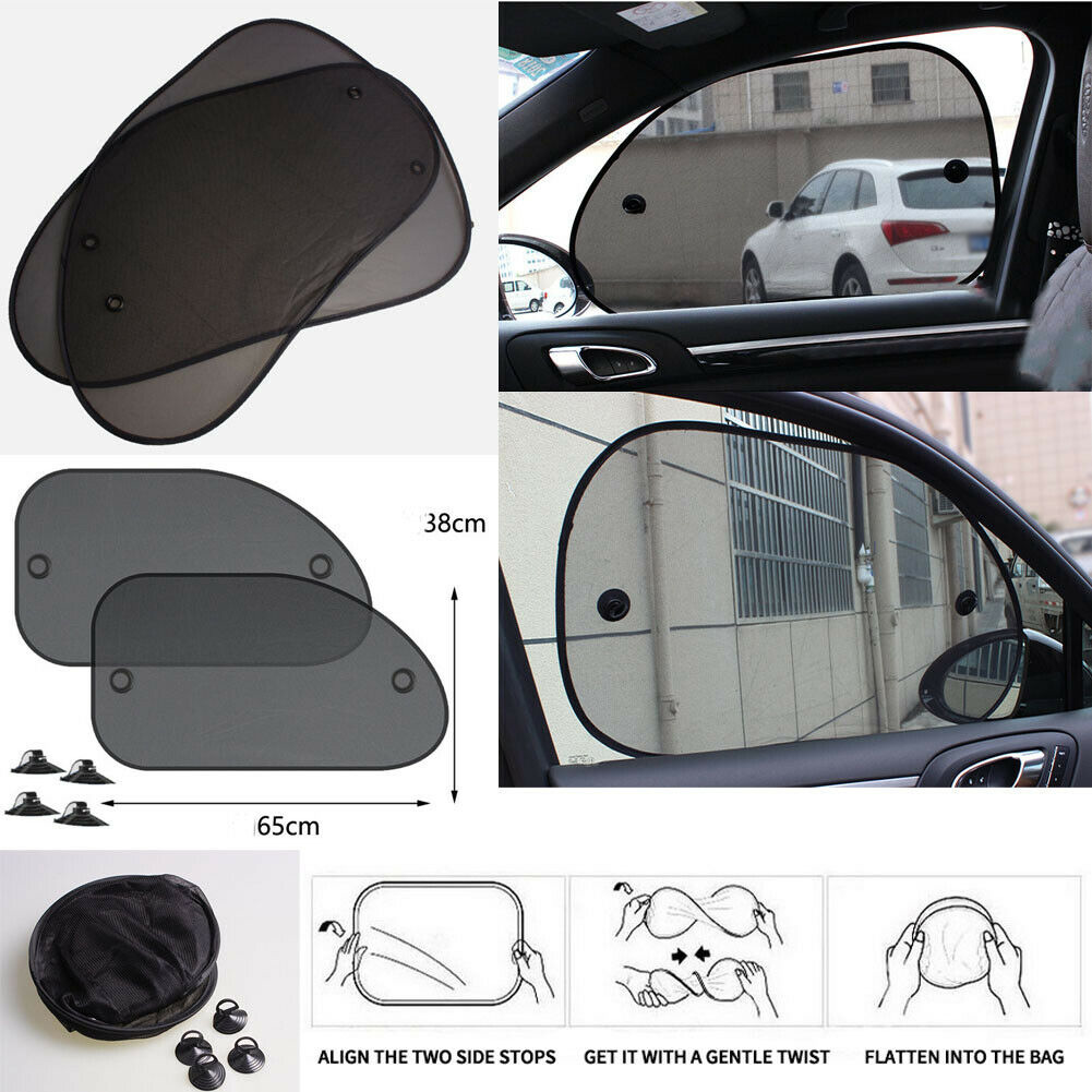 Image 3 - 2 X Car Side Rear Window Sun Visor Shade Mesh Cover Shield Sunshade UV Protector-in Windshield Sunshades from Automobiles & Motorcycles