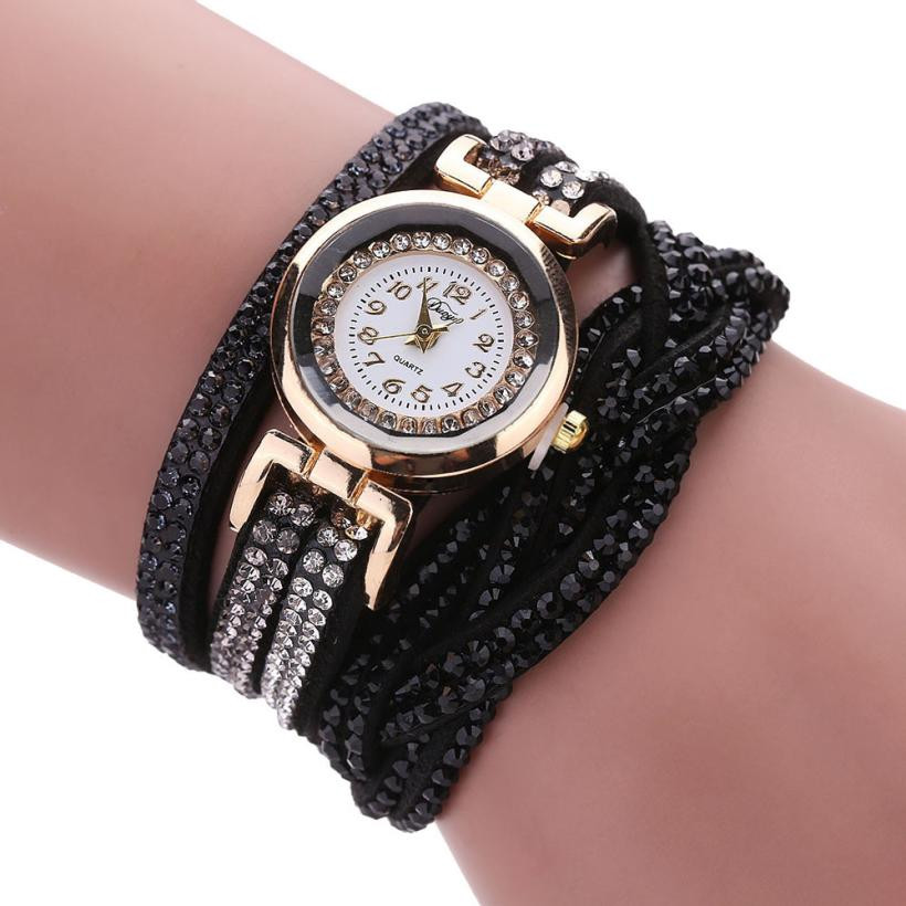 Classy Watches Women Luxury Crystal Women Gold Bracelet Quartz Wristwatch Rhinestone Clock Ladies Dress Gift Watches Montre Femm