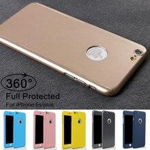 Роскошные 360 derece всего тела защитная крышка случаи для iphone 6 6s плюс с закаленным стеклом для iphone 6s plus case + логотип круг