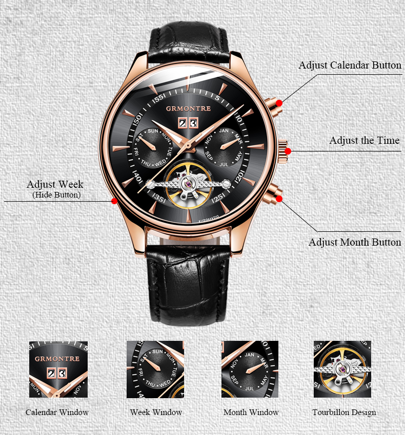 44mm zegarki wysokiej jakości Relogio Masculino GRMONTRE zegarki automatyczne dla mężczyzn mechaniczny szkielet moda zegarek erkek kol saati w Zegarki mechaniczne od Zegarki na  Grupa 2