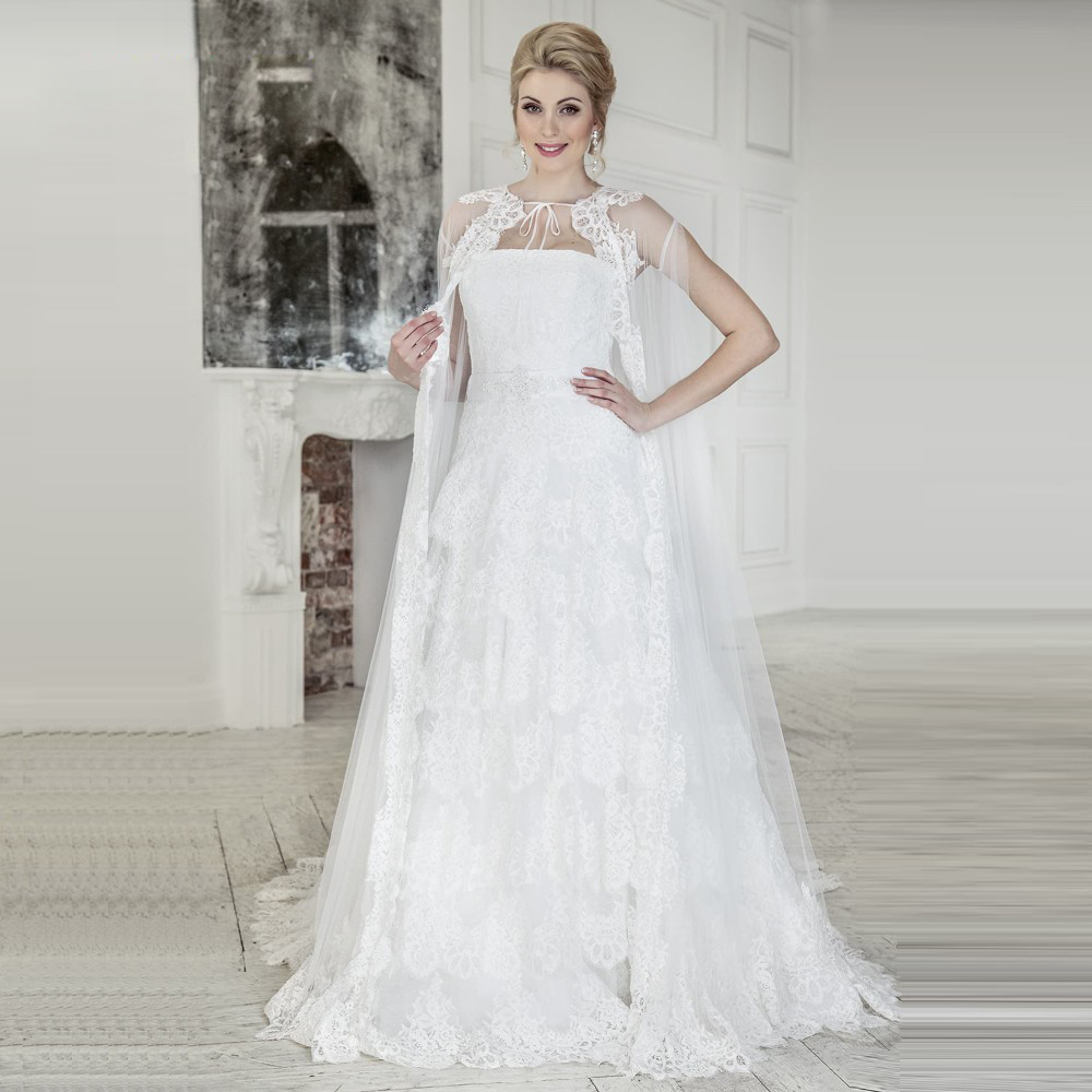 Compare prices on pleated bridal shawl online shoppingbuy low romantic wedding dresses with shawl 2017 appliques lace bridal gown a line tulle women marry party ombrellifo Choice Image