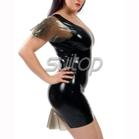 black color latex casual mini dress back transparent