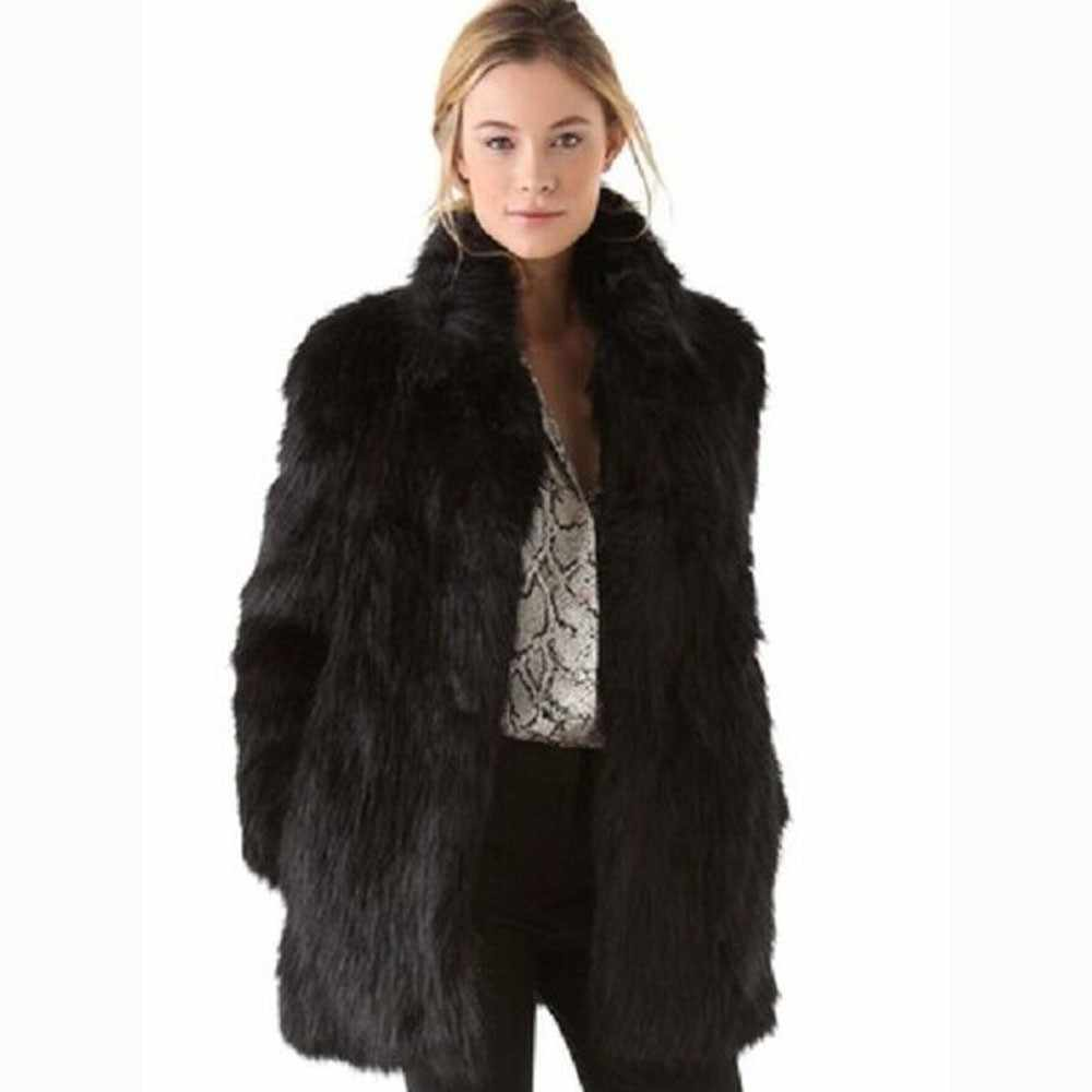 1ad44ce92b2c5 White black faux fur coat women winter coat medium long rabbit fox fur coats  plus size