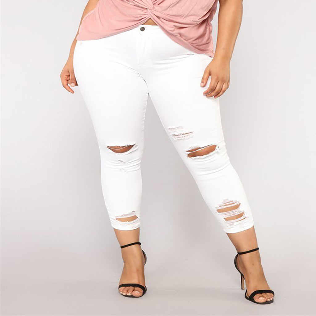Yeni Gelenler Kadın Elastik Artı Boyutu Kot Cep Düğmesi Rahat Çizme Kesim Pantolon Kot Pantalon Vaquero Mujer