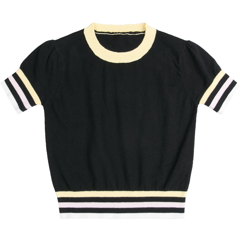 Children's clothing spring and summer thin black and white striped round neck knitted short-sleeved sweater kids ruffle tie neck striped romper