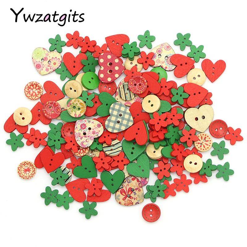 Ywzatgits 50 шт./лот 15-25 мм смешанный стиль деревянные Пуговицы на Рождество вечерние Декор DIY Вышивание одежды ручной работы Интимные аксессуары 004010100