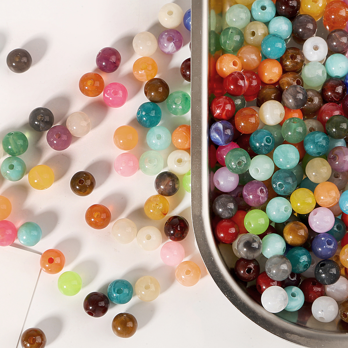 100 Pcs Acrylic Pearl Beads Charms Spacer Bead Jewelry Making findings 8mm
