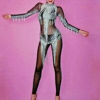 Сверкающие кристаллы с кисточками комбинезон со стразами сексуальный боди Женский певец вечерняя одежда для сцены женский день рождения, п