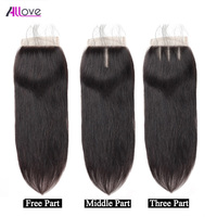 Allove Hair Brazilian Straight Hair Lace Closure 4*4 100% Remy Human Hair Swiss Lace Closure 8 20 Inch Free Shipping Free Part